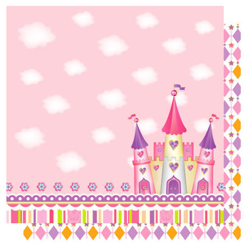 Best Creation Inc - Once Upon A Dream Collection - 12 x 12 Double Sided Glitter Paper - Fairy Castle