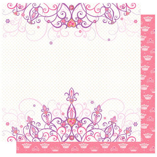 Best Creation Inc - Once Upon A Dream Collection - 12 x 12 Double Sided Glitter Paper - Pink Crown click to enlarge