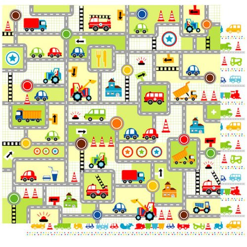 Best Creation Inc - Transportation Collection - 12 x 12 Double Sided Glitter Paper - Lets Go