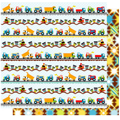 Best Creation Inc - Transportation Collection - 12 x 12 Double Sided Glitter Paper - Trucks and Trains