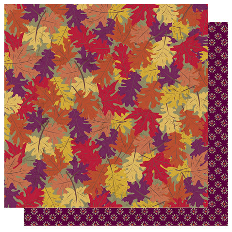 Best Creation Inc - Autumn Splendor Collection - 12 x 12 Double Sided Glitter Paper - Leaf Medley, BRAND NEW - click to enlarge