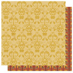 Best Creation Inc - Autumn Splendor Collection - 12 x 12 Double Sided Glitter Paper - Harvest Ornament Gold
