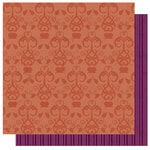 Best Creation Inc - Autumn Splendor Collection - 12 x 12 Double Sided Glitter Paper - Harvest Ornament Orange