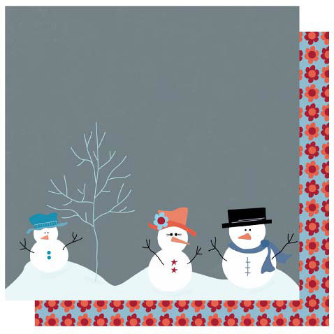 Best Creation Inc - Winter Wonderful Collection - Christmas - 12 x 12 Double Sided Glitter Paper - Snowman Family