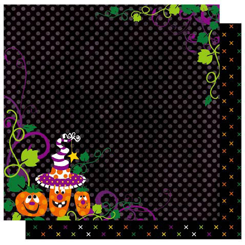 Best Creation Inc - Haunted House Collection - Halloween - 12 x 12 Double Sided Glitter Paper - Halloween Night, BRAND NEW - click to enlarge