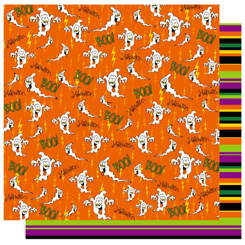 Best Creation Inc - Haunted House Collection - Halloween - 12 x 12 Double Sided Glitter Paper - Boo Orange