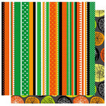 Best Creation Inc - Trick or Treat Collection - Halloween - 12 x 12 Double Sided Glitter Paper - Trick or Treat Stripes