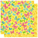 Best Creation Inc - Bella Collection - 12 x 12 Double Sided Glitter Paper - Butterfly Kisses