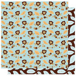 Best Creation Inc - Safari Boy Collection - 12 x 12 Double Sided Glitter Paper - Lion Garden