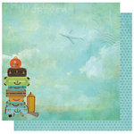 Best Creation Inc - Travel Forever Collection - 12 x 12 Double Sided Glitter Paper - Check Your Luggage