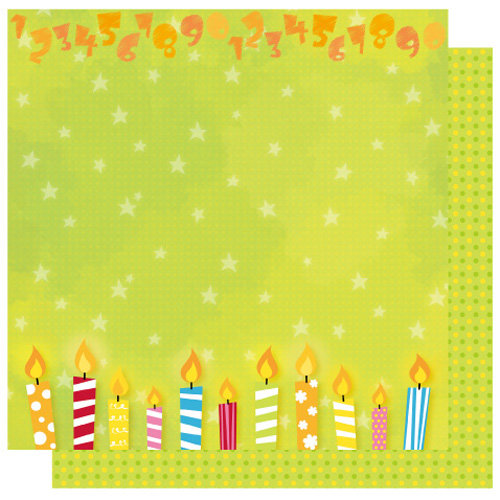 Best Creation Inc - Let's Party! Collection - 12 x 12 Double Sided Glitter Paper - Blow Out the Candles