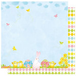 Best Creation Inc - Bunny Love Collection - Easter - 12 x 12 Double Sided Glitter Paper - Hunting For Eggs