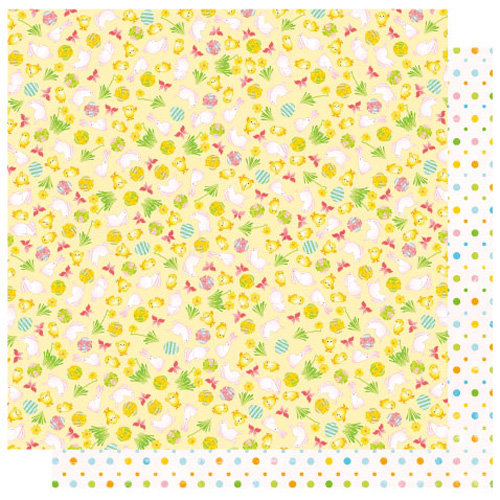 Best Creation Inc - Bunny Love Collection - Easter - 12 x 12 Double Sided Glitter Paper - Bunnies and Chicks