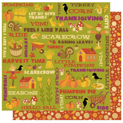 Best Creation Inc - Hello Fall Collection - 12 x 12 Double Sided Glitter Paper - Give Thanks