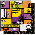 Best Creation Inc - Happy Haunting Collection - Halloween - 12 x 12 Double Sided Glitter Paper - Happy Haunts