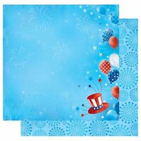 Best Creation Inc - I Love America Collection - 12 x 12 Double Sided Glitter Paper - Independence Day
