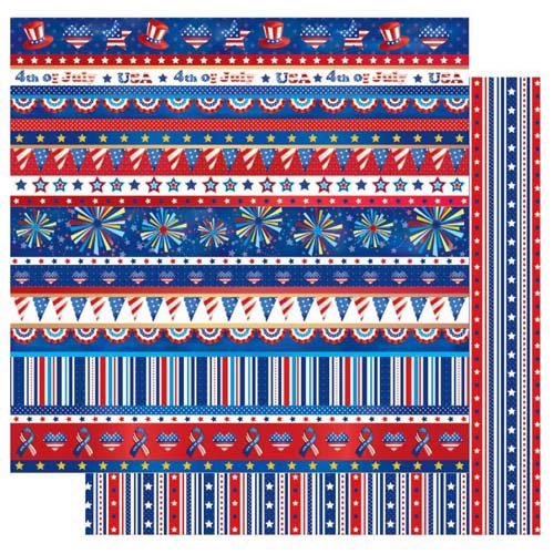 Best Creation Inc - I Love America Collection - 12 x 12 Double Sided Glitter Paper - Show Your Stripes