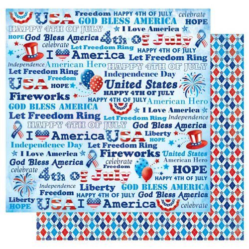 Best Creation Inc - I Love America Collection - 12 x 12 Double Sided Glitter Paper - Let Freedom Ring