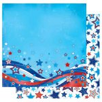 Best Creation Inc - I Love America Collection - 12 x 12 Double Sided Glitter Paper - Stars Stripes