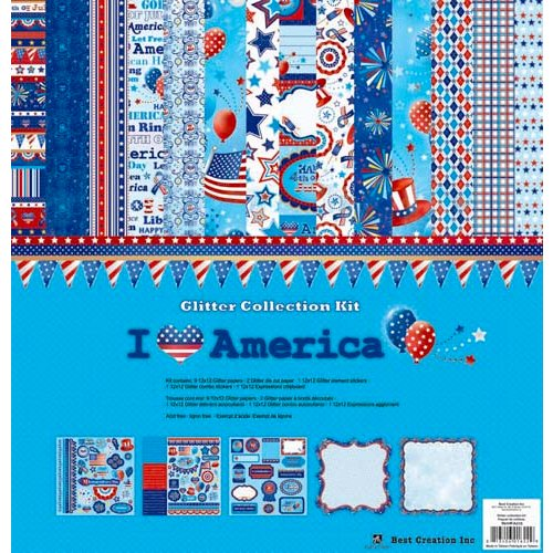 Best Creation Inc - I Love America Collection - 12 x 12 Glittered Collection Kit