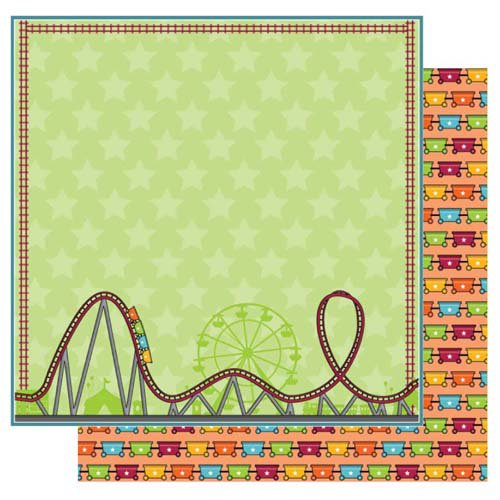Best Creation Inc - Loops and Scoops Collection - 12 x 12 Double Sided Glitter Paper - Wild Ride