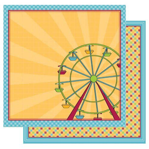 Best Creation Inc - Loops and Scoops Collection - 12 x 12 Double Sided Glitter Paper - Ferris Wheel