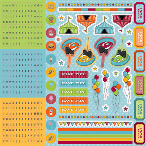Best Creation Inc - Loops and Scoops Collection - Glitter Cardstock Stickers - Combo