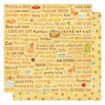 Best Creation Inc - Meow Collection - 12 x 12 Double Sided Glitter Paper - Cat Words