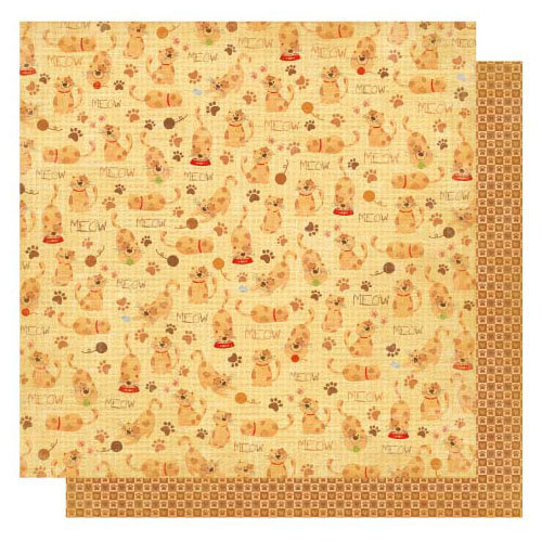 Best Creation Inc - Meow Collection - 12 x 12 Double Sided Glitter Paper - Lazy Cat