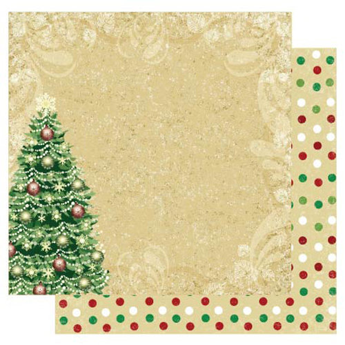Best Creation Inc - Merry Christmas Collection - 12 x 12 Double Sided Glitter Paper - Christmas Tree