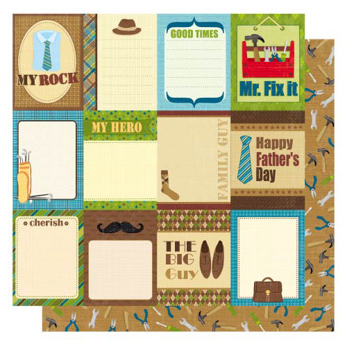 Best Creation Inc - My Hero Collection - 12 x 12 Double Sided Glittered Paper - Daddys Day Journal