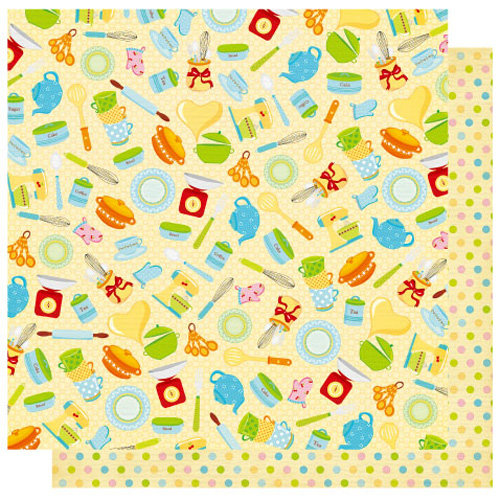 Best Creation Inc - Mom's Kitchen Collection - 12 x 12 Double Sided Glitter Paper - Mixin in the Kitchen