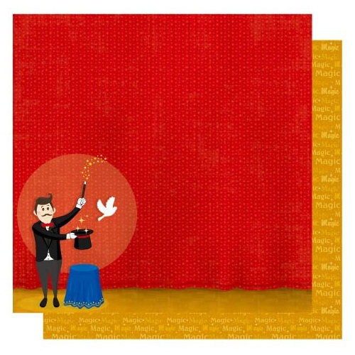 Best Creation Inc - Magic Show Collection - 12 x 12 Double Sided Glitter Paper - Magician