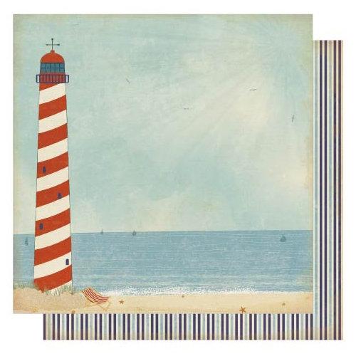 Best Creation Inc - Ocean Breeze Collection - 12 x 12 Double Sided Glitter Paper - Ocean Breeze Left