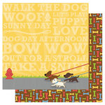 Best Creation Inc - Puppy Love Collection - 12 x 12 Double Sided Glitter Paper - Walk the Dog