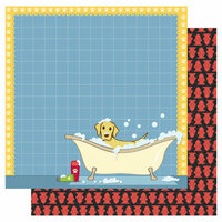 Best Creation Inc - Puppy Love Collection - 12 x 12 Double Sided Glitter Paper - Puppy Puddles