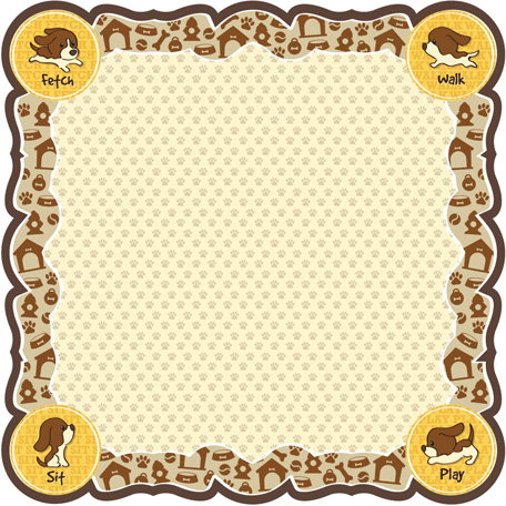 Best Creation Inc - Puppy Love Collection - 12 x 12 Die Cut Glitter Paper - Sit Play Fetch