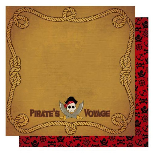 Best Creation Inc - Pirates Collection - 12 x 12 Double Sided Glitter Paper - Pirates