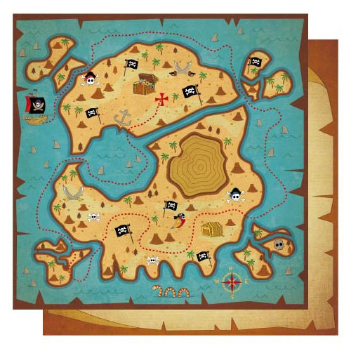Best Creation Inc - Pirates Collection - 12 x 12 Double Sided Glitter Paper - Treasure Map