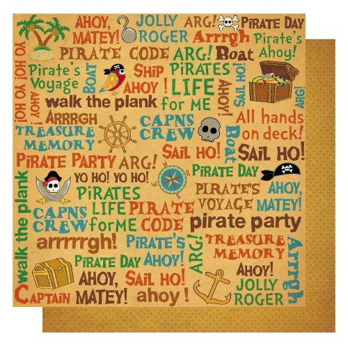 Best Creation Inc - Pirates Collection - 12 x 12 Double Sided Glitter Paper - Pirate's Life Words