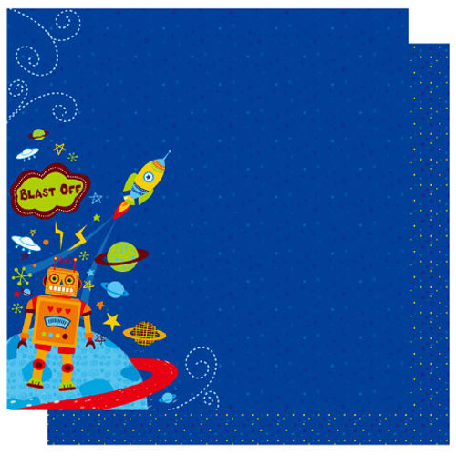 Best Creation Inc - Robot Collection - 12 x 12 Double Sided Glitter Paper - Blast Off