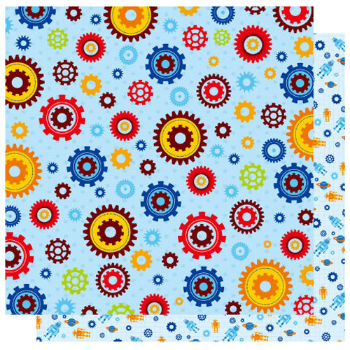 Best Creation Inc - Robot Collection - 12 x 12 Double Sided Glitter Paper - Robot Bits