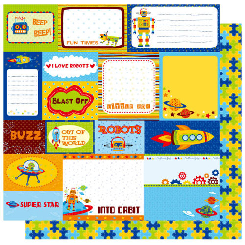 Best Creation Inc - Robot Collection - 12 x 12 Double Sided Glitter Paper - Robot Tags