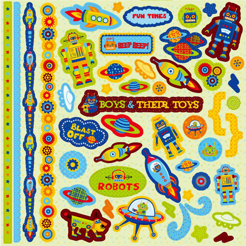 Best Creation Inc - Robot Collection - Glittered Cardstock Stickers - Element