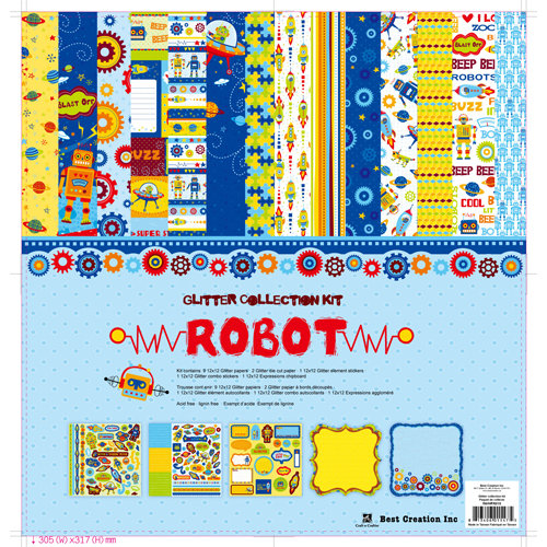 Best Creation Inc - Robot Collection - 12 x 12 Glittered Collection Kit