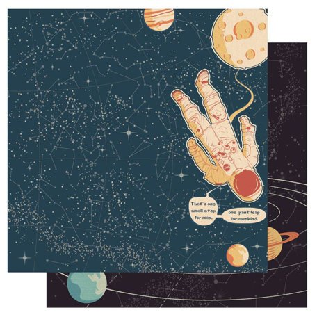 Best Creation Inc - Space Age Collection - 12 x 12 Double Sided Glitter Paper - Mankind