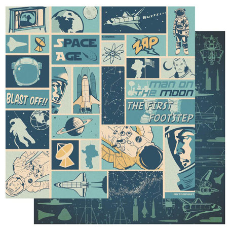 Best Creation Inc - Space Age Collection - 12 x 12 Double Sided Glitter Paper - Blast Off