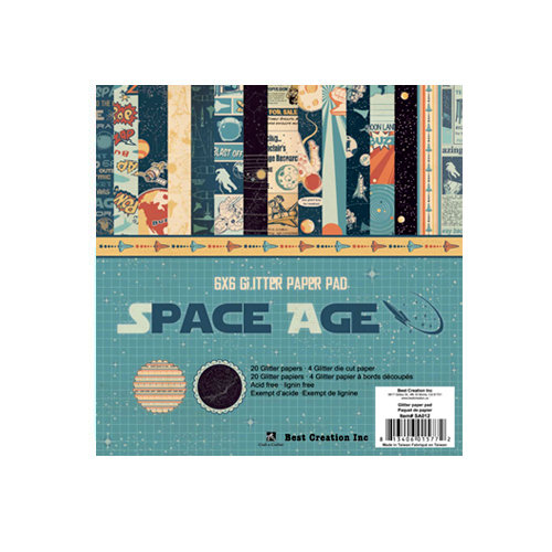 Best Creation Inc - Space Age Collection - 6 x 6 Glittered Paper Pad