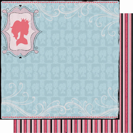 Best Creation Inc - Sixteen Candles Collection - 12 x 12 Double Sided Glitter Paper - Princess Silhouette