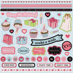 Best Creation Inc - Sixteen Candles Collection - Glittered Cardstock Stickers - Element
